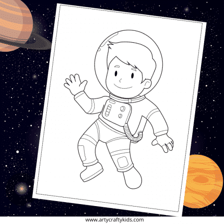 Astronaut in Outer Space Coloring Page - Sparkling Minds | 450x450