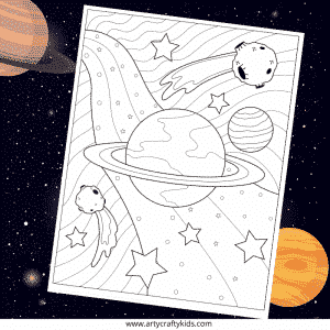 Galaxy Coloring Page for Kids