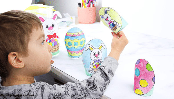 Printable Easter Paper Toy for kids to color and assemble. A combined activity of craft and play; children can use the toys within an Easter egg hunt, maths games and Easter imaginative play.