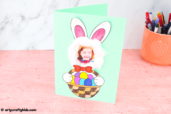 Make an adorable Easter Bunny Photo Card with the kids the Easter. A cute, fun and easy Easter craft kids will love.