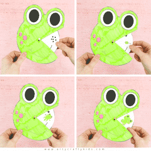 Printbable Life Cycle of a Frog Spinner for kids to color and make.