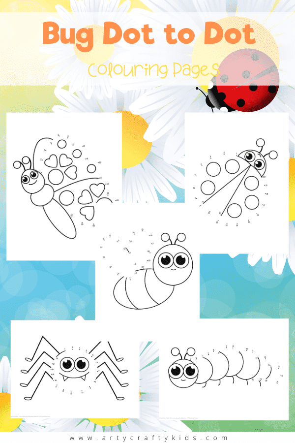 5 adorable Bug Dot to Dot Coloring Pages for Kids. Count 1-20 to complete the buzzy bee, ladybug, caterpillar, butterfly and spider! Perfect for preschoolers learning to count.