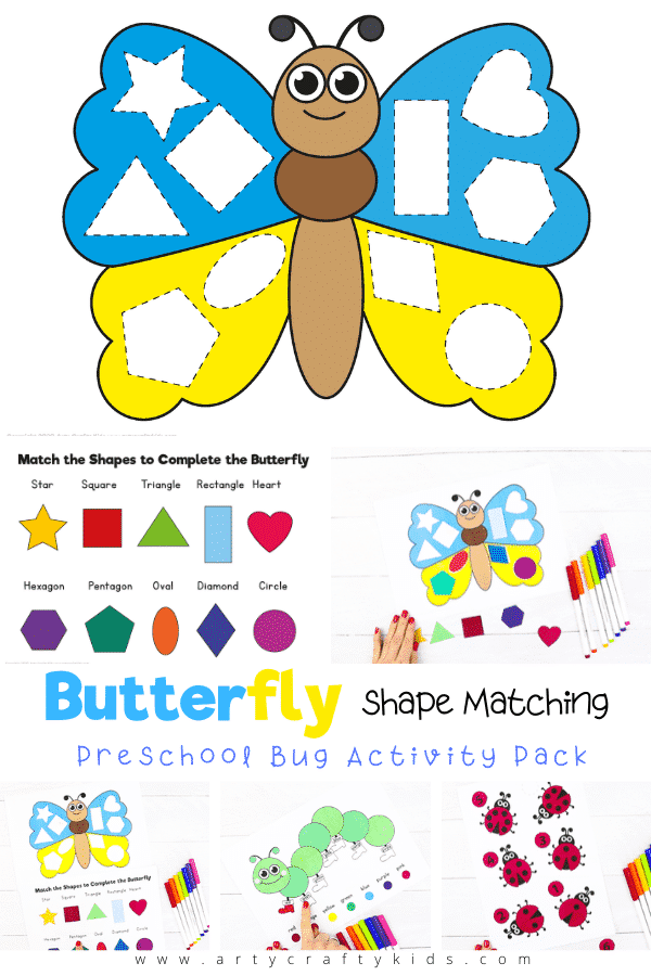 Bright and engaging butterfly shape matching activity for preschoolers. Can children identify and match the shapes to complete the butterfly?