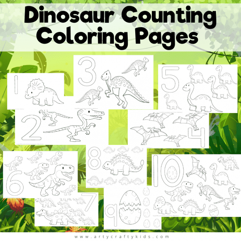 Dinosaur Counting Coloring Pages