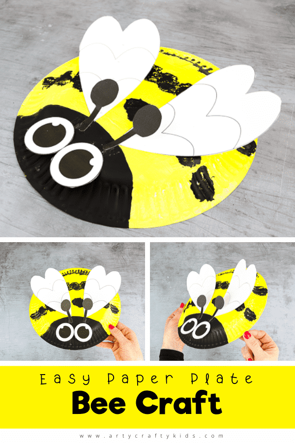 Cute and easy Paper Plate Bee Craft for Kids. Perfect for toddlers and preschoolers, this simple craft can be completed independently or used to support learning around Spring and mini-beasts.