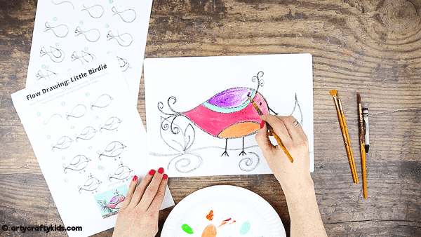 How to Draw for a bird for Kids - A simple drawing guide for kids that introduces mindfulness to the creative process.