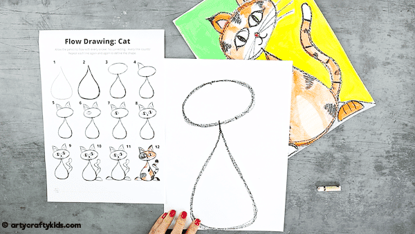 Flow Drawing for Kids - How to Draw a Cat: A fun drawing guide for children to follow that brings mindfulness to the creative process. Children are encouraged to use simple repetative flowing lines and shapes within their drawings.