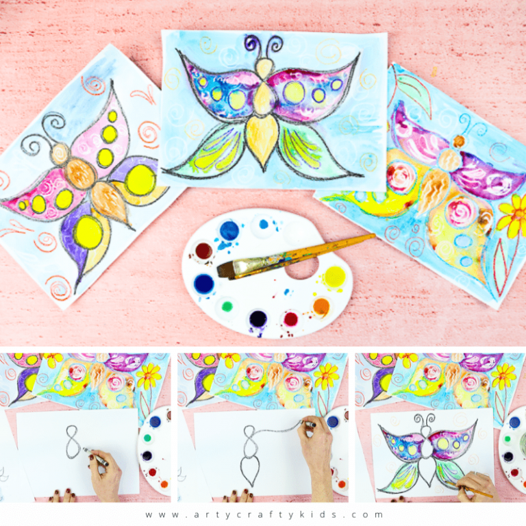 Flow Drawing for Kids: How to Draw a Butterfly - Mindfulness in Art for Kids