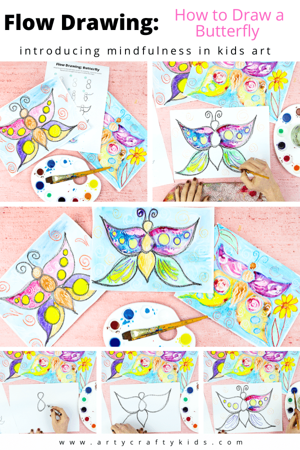 Flow Drawing for Kids: How to Draw a Butterfly: Flow drawing helps children to understand shapes and create illustrations, in a much freer way. It's the perfect alternative to traditional 'how to draw' guides - by removing restrictions, flow drawing encourages children to fully engage in the moment and discover their natural flow, bringing mindfulness to the creative process.