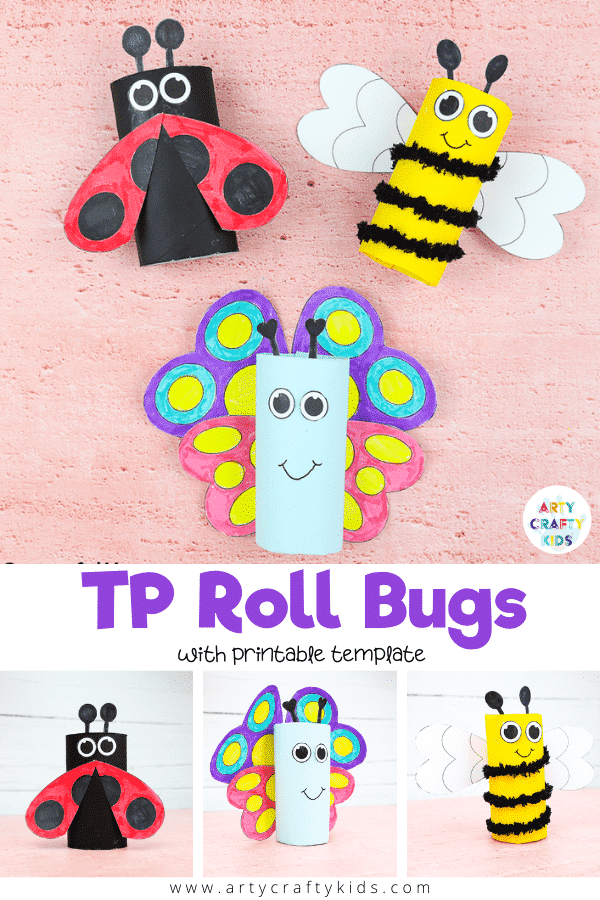 Learn how to make a trio of Toilet Paper Roll Bugs! Follow our step by step tutorial to create a paper roll Ladybug, paper roll Bee and a paper roll Butterfly. A fun and easy Spring craft for Kids!