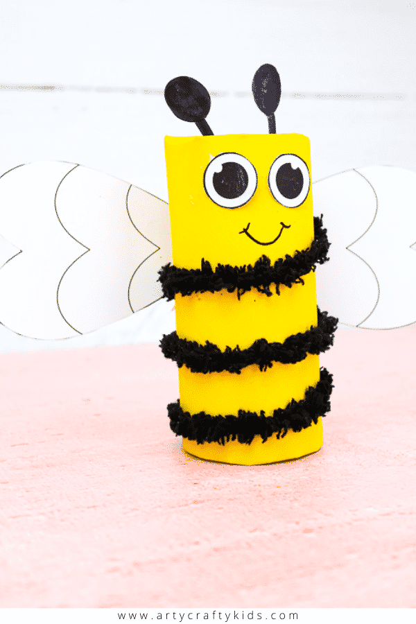 Learn how to make a Toilet Paper Roll Bee with recyclable materials. A fun and easy Spring Craft for Kids.