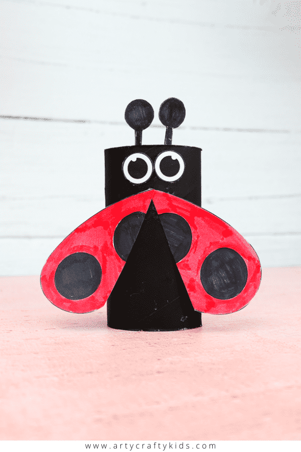 Learn how to make a Toilet Paper Roll Ladybug with the kids. A cute and easy Spring craft for kids.