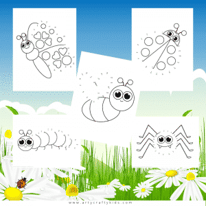Bug Dot to Dot Coloring Pages for Kids