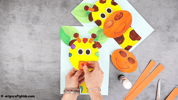 Add a second layer to the giraffe to make the mouth pop from the page.