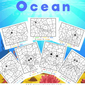 Ocean Color by Numbers Pages for Kids