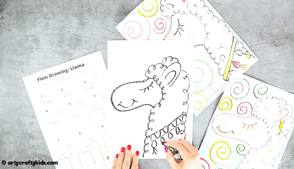 Flow Drawing for Kids: How to Draw a Llama - encouraging children to engage in their natural flow by using simple rhythmical shapes and lines. An alternative How to Draw Guide for Kids that introduces mindfulness to the creative process.