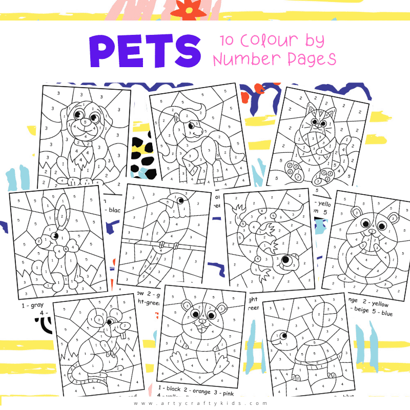 Pet Color by Number Worksheet for Kids