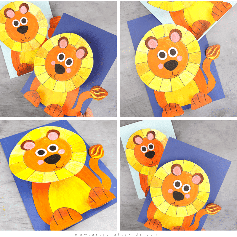 3D Paper Lion Craft for Kids