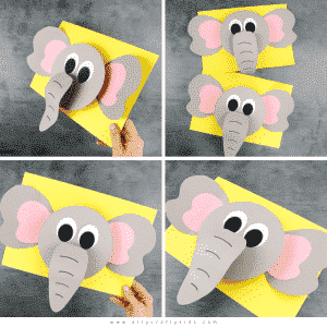 Play with shapes and lifts to create a 3D Paper Elephant craft with the kids this Summer. A super fun animal craft for kids who love elephants! Our elephant paper craft is perfect for pre-schoolers and school early years to help them play with shape and depth, and to strengthen fine motor skills.