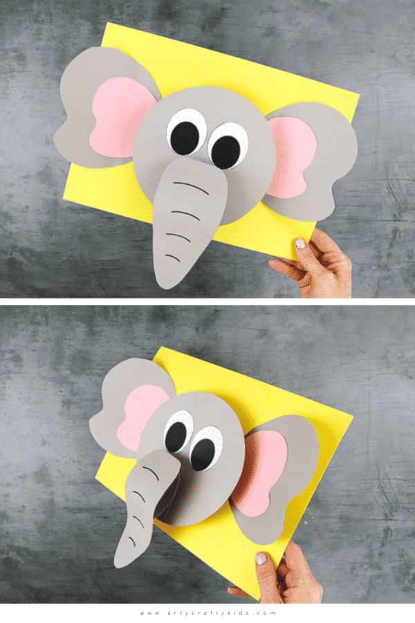 Play with shapes and lifts to create a 3D Paper Elephant with the kids this Summer. A super fun animal craft for kids who love elephants!