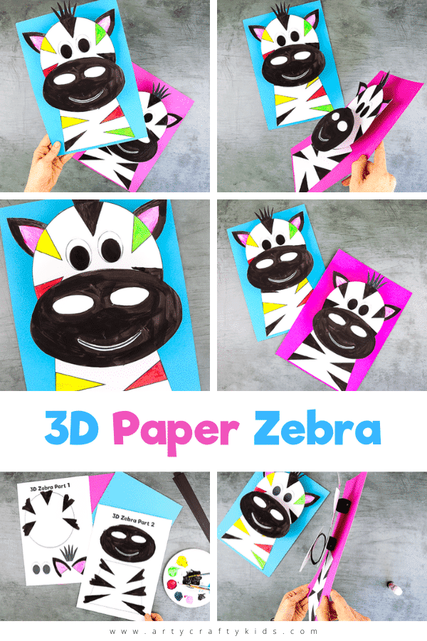 Our latest 3D Paper Zebra Craft for Kids joins a growing series 3D paper animal crafts - combining the creativity of craft, the interest of perspective and the fun of movement, they've really been capturing the imaginations of younger and older kids alike!