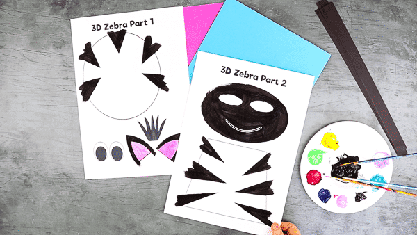 Paint the 3D Paper Zebra Craft template.