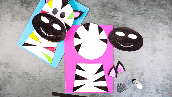 Cut out the shapes from the colored 3D Paper Zebra Craft template.