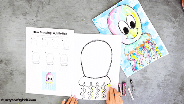 Flow Drawing for Kids: How to Draw a Jellyfish - add more squiggles