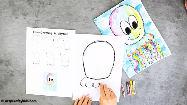 Flow Drawing for Kids: How to Draw a Jellyfish - add a frill