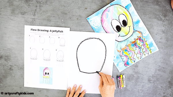 Flow Drawing for Kids: How to Draw a Jellyfish  - Create a horseshoe shape