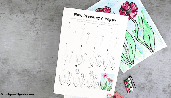 Download and print the How to Draw a Poppy Guide.