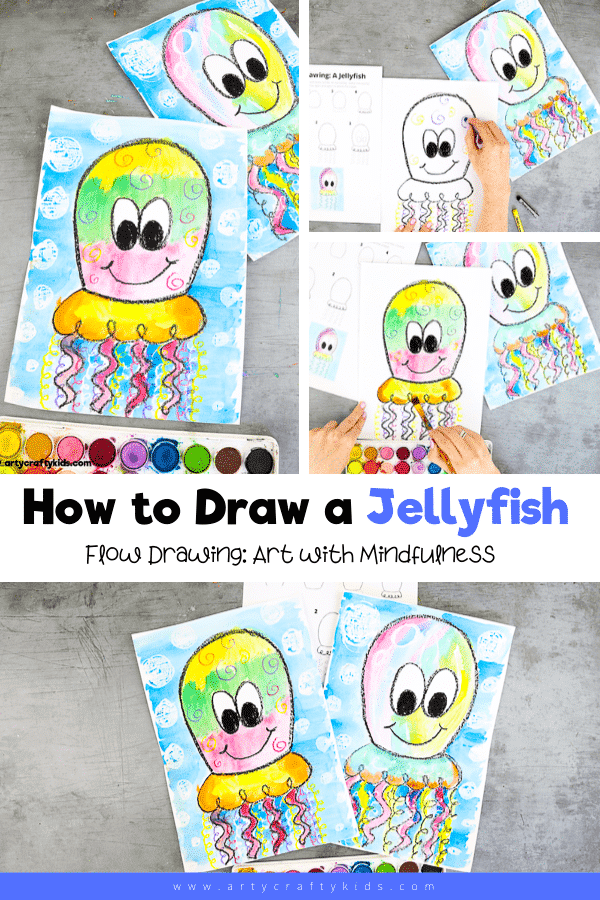 How to Draw a Jellyfish - a simple drawing guide for kids the encourages children to use repetitive lines to form shapes.