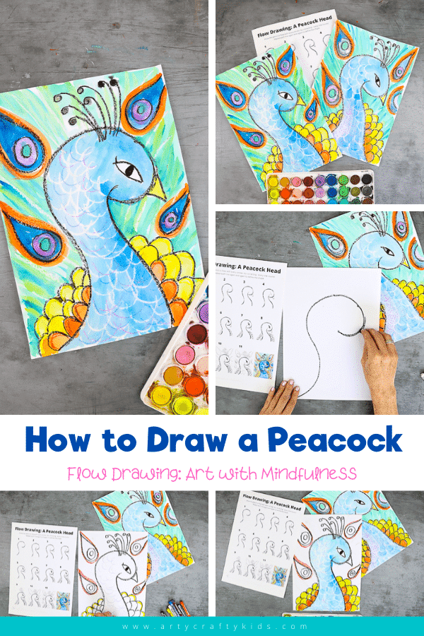 Flow Drawing for Kids: How to Draw a Peacocks Head - Blend art with mindfulness to draw a magnificent peacock. This simple how to draw guide for kids encourages the use of simple repetitive movements to create lines and shapes; enabling children to engage in their own natural rhythms and creativity.