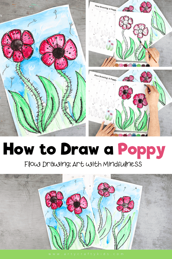 Flow Drawing: How to Draw a Poppy guide for kids! A fun and simple how to draw guide that encourages repetitive flowing movements to create lines and shapes. A beautiful art project for kids for remembrance and memorial day.