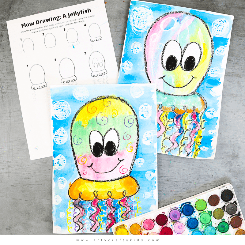 Flow Drawing for Kids: How to Draw a Jellyfish