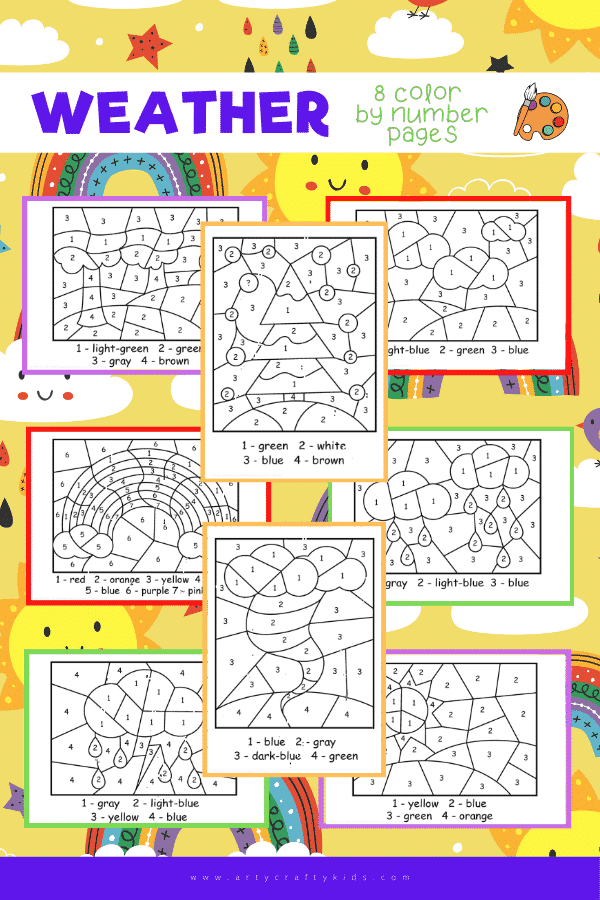 Weather Color by Number Worksheets for Kids