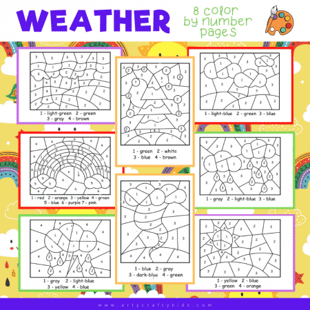 Weather Color by Number worksheets for kids!