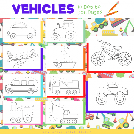 Vehicle Dot to Dot for Kids