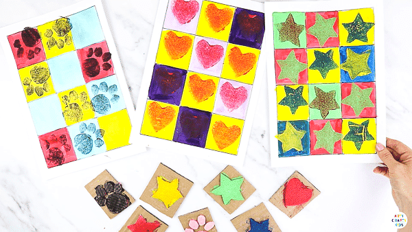 DIY Stamp Pop Art for Kids: An easy art idea for kids of all ages - it would make a great color and shape recognition activity for preschoolers; a pattern and counting art idea for early years and can be extended to a full art study.   This art project can be completed with or without our printable templates.