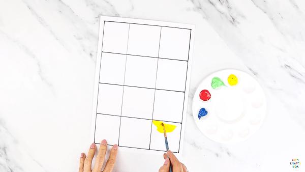 DIY Stamp Pop Art - Add color to the grid.