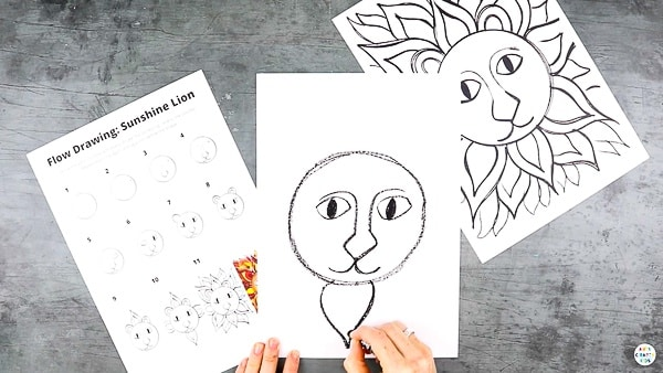 Use our Flow Drawing technique to create Sunshine Lion Art with the kids this Summer. A fun and unique way to explore color and shape, while learning to draw in a free and mindful space.   This project can be completed with our Flow Drawing guide and a completed Sunshine Lion to paint.