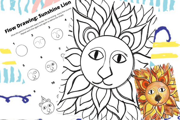 This free flow how to draw a sunshine lion guide can be completed with our step-by-step illustrative template or a black & white lion coloring page.