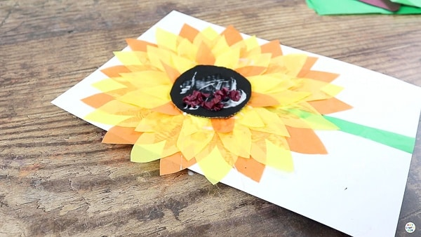 Add Srunched up Tissue Paper Balls to the Center of the Sunflower.