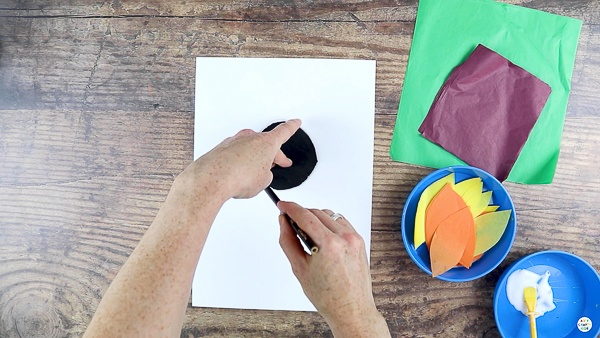 Draw a Circle in the Center of the White Cardstock.