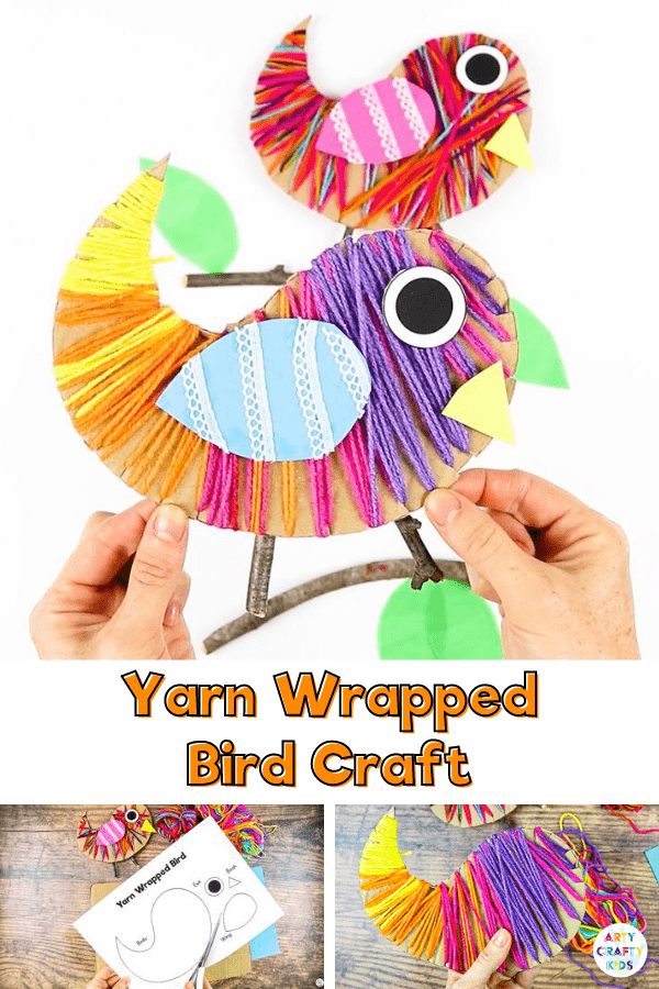 Children can practice their fine motor skills and use recycled materials to make this gorgeous Yarn Wrapped Bird Craft for Kids