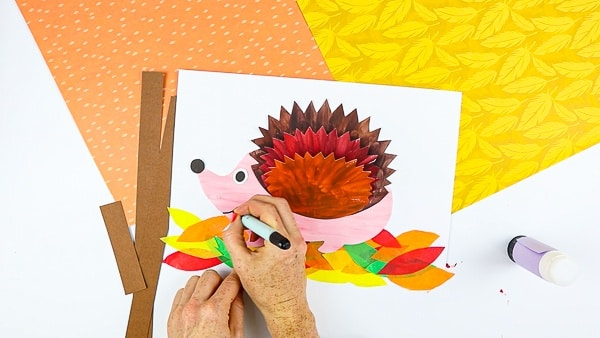 Complete the 3D Paper Hedgehog Craft with a smile, an eye and cute button nose!