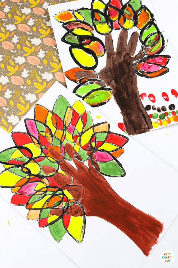 Paper Roll Printed Fall Handprint Tree - A fun and easy Autumn art project for kids that explores color and shape while adding the personal touch of a handprint.
