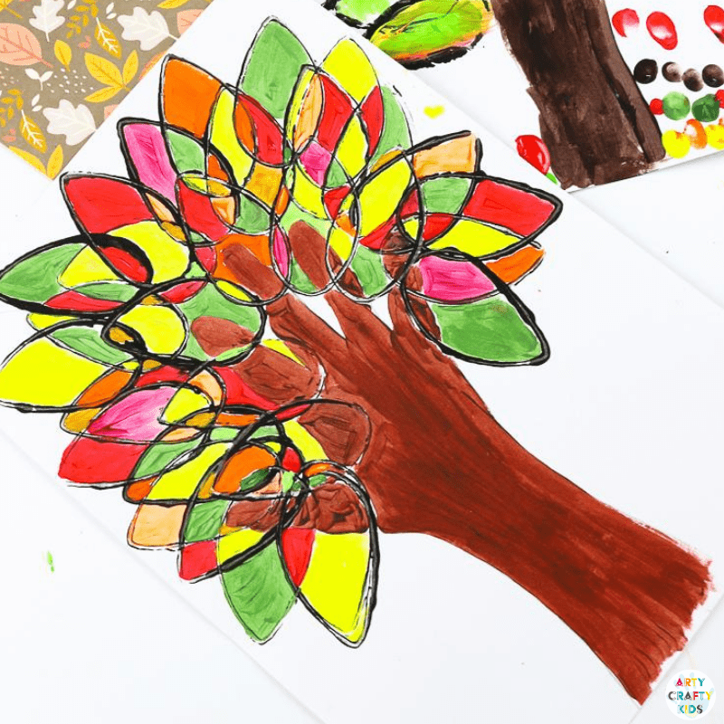 Paper Roll Printed Autumn Handprint Tree: If you are looking for a simple Autumn Craft that can be recreated independently, encourages color-mixing and enhances fine motor skills with simple printing, painting and tracing, then this is an ideal project for you; designed and created by my very own Arty Crafty six-year old, this Autumn Craft for kids ticks all the boxes and is great for homeschool, preschool and any early years setting!