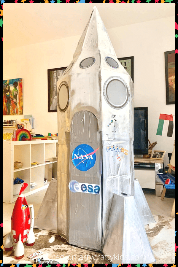 How to turn cardboard boxes into an awesome Cardboard Space Ship that will inspire play, curiosity and imaginations! A brilliant cardboard creation for kids.