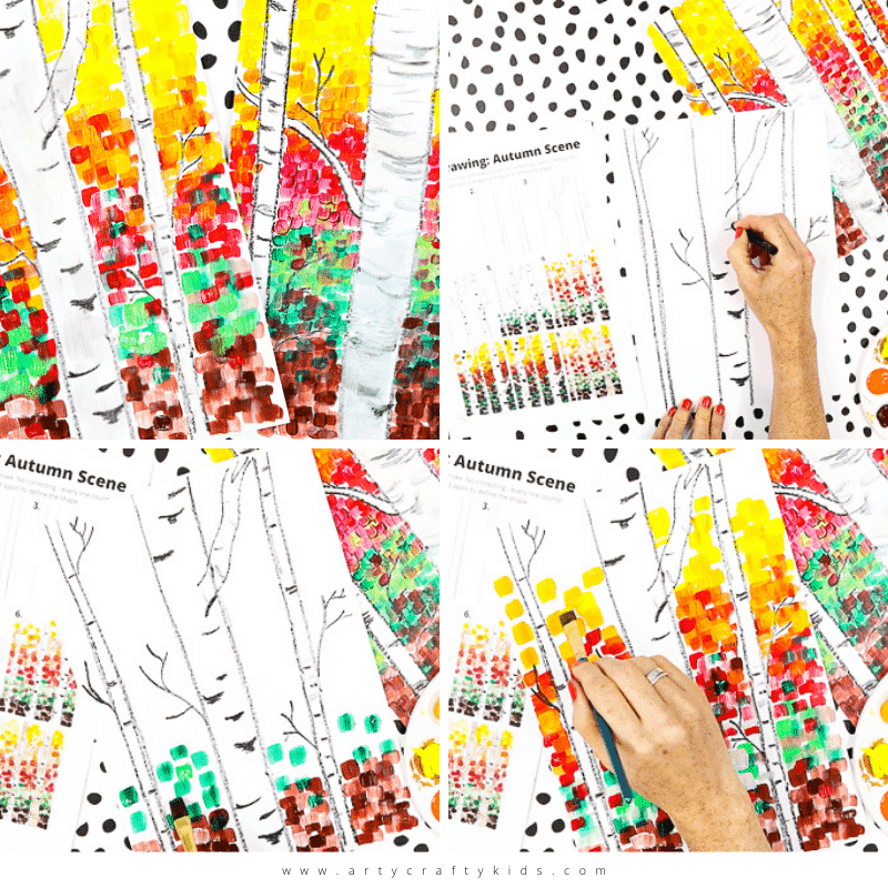 Flow Drawing For Kids Autumn Birch Tree Painting Arty Crafty Kids